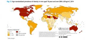 Kart over land i verden med flest overvektige